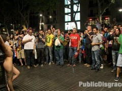 Samia Duarte is a local Spanish resident that allows herself to be tied up and stripped naked in the city streets of her own town! She is fucked hard, made to jerk off strangers, and then paraded through a nighttime celebration swarming with cheering soccer fans!!!!video