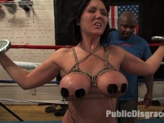 Claire Dames gets tied up and taken to a boxing gym full of horny dudes. Her big bound tits are fondled by everyone before she gets on her knees and gives blowjobs while in bondage. Claire gets every single hole filled while these boxers use her as a fuck hole and cum all over her face.video