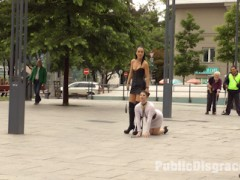 Longtime PD Fan and public whore Lucia Love is greedy to be used on Public Disgrace!!! Fetish Liza steps up to that task and brutally shames and humiliates this natural busty whore all over Budapest. Lucia barks like a dog, gets disgusting food smeared over her face, and then pissed on to wash it all off. This greedy anal slut can't get enough, she is humiliated with a hard pounding double penetration in front of a huge crowd.video
