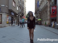 19 year old Bella Beretta is ready to push her sexual limits. Her tight ass and perky tits make her an object of desire wherever she goes. The eyes of men and women follow her even when she isn't wearing a slutty dress. Fetish Liza exploits Bella's youth and innocence, parading her through a local Budapest market. Shopkeepers and delivery men grab their phones to capture a snapshot of Bella's exposed cunt. After Bella's marketplace humiliation, Liza takes Bella to a small pub in search of some cock to stuff in Bella's tight pink pussy. Bound in rope Bella's swollen pussy is repeatedly groped by excited bar patrons. Men push up against the open window to watch Bella get passed from one cock to the next, filling her mouth and dripping fuck hole. Finally after being completely used up Bella get her reward of a mouth full of cum. Another Public Disgrace fantasy actualized.video