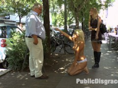 Layla Pryce is one fucked up slut. Unable to find someone to publicly humiliate, punish and fuck her in her personal life, Layla keeps cuming back to Public Disgrace to get her filthy fantasies fulfilled. Today Layla submits her fat ass to Mona Wales and Juliette March to use and abuse.  These two tops are not impressed by Laylas slutty clothing choices and stupid seductress walk.  To punish her for being such a filthy whore Juliette and Mona strip Layla barefoot and naked in the streets of Berlin.  After stuffing Laylas whore mouth full with her own stinky socks, Juliette and Mona laugh at Layla as she continually fails to give her panties to strangers on the street.  You can see the embarrassment on Laylas face as men look at her exposed pussy in disgust as she begs them to take her filthy panties.  After Laylas epic failure to give away her clothes.  Mona and Juliette take Layla to an abandoned warehouse courtyard where they trick her ass out on a used up mattress.  Opening her holes to any strange cock with a Euro to spare.  Once this cheap whore has serviced all the men that are willing to put their cocks in such a filthy slut.  Mona and Juliette bend Layla over and fist her asshole in front of an excited crowd.  Another Public Disgrace fantasy successfully fulfilled.video