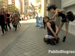 Camil Core is humiliated and shamed on the streets of Madrid by gorgeous Dom Satrina. This dirty slut is drenched in a public fountain before getting pissed on and fucked outdoors in front of a wild crowd. Later she is tied up in rope bondage for some corporal punishment and a deep anal fucking. She then takes it in every hole for a hard double penetration.video