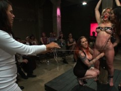 Darling shows up for her Public Disgrace asking for a challenge. Donna sees how much electricity she can take while the crowd torments Darling.Then Darling does something she's never done before - she gets fucked on camera for the first time by John Strong, while she's pleasuring Mz. Berlin.video