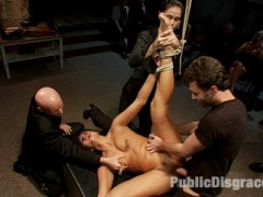Cece Stone is bound in metal shackles, blindfolded, gagged, and helpless in front of a ravenous crowd. One after the other people cum and make her cum till she is a blubbering mess of girl that cannot speak, let alone cum anymore. And that is just the first scene!video