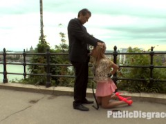 Big Tit Blonde Isabella Clark is here to show off her amazing asshole to the public of Budapest! But first Steve Holmes takes this slut out in public for a deep throat blowjob. People are just amazed and shocked to see this whore suck down Steve's giant cock in public! Isabella is then strapped down in leather bondage and a ball gag and taken to an open restaurant where the rowdy crowd gets to watch this slut perform! Caning, Flogging, Corporal Punishment, Tit Slapping, Anal, Double Anal, Double Penetration, Anal Fisting!!! This true whore takes it all and then licks it all up afterwards!video