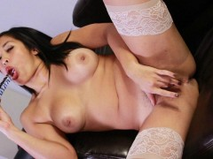Cum Hungry Sex Slave Mia Li Master wants to see what Mia Li can do with a vibrator and glass dildo, commanding her to use them. She does as she\\\'s told, rubbing it against her wet pussy, teasing her clit and lips with high speed. You can tell she wants some cock to play with. She gets on her knees, begging for her master\\\'s cock, promising a hot handjob or blowjob. He let\\\'s her reach inside his pants and pull it out. She rubs it against her kissable lips, allowing it to slide deep in her mouth. She really did want some cock to play with. This cum whore needs to walk out with a facial. We love working with horny girls like Mia.video