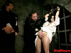 Gypsy, a sexy brunette fortune teller, will endure imprisonment, BDSM gang bang, domination, rope bondage and suspension, spanking, slapping, humiliation, fingering, breast, nipple and pussy torment at the dungeon. It hasn\\\'t happened yet, so she masturbates and thinks about the punishment coming soon.video