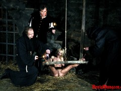 Blonde prostitute Romina was caught working the city streets, arrested and brought to our guards. They have everything needed for proper and creative punishments. Romina must endure imprisonment, BDSM gang bang, domination, bondage and suspension, spanking, slapping, fingering, candle and wax play, foot, breast, nipple and pussy torment.video