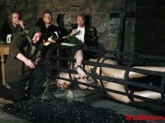 Magda, a hot blonde wench the dungeon keepers wanted to play with, was wrongfully arrested and punished. She must endure imprisonment, BDSM fun, bondage, gang bang, spanking, slapping, fingering, extreme food play, triple penetration with tasty vegetables and a ride in a human spit roast.video