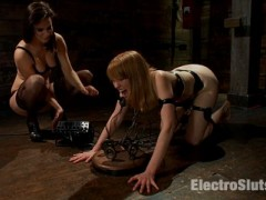 Episode 3: Red-haired all natural beauty Mallory Malone doesn't look like the sort of girl who's looking for trouble, but trouble finds her in the way of electrosex and BDSM in her stimulating update. Collared and chained to the floor, I make sure I get my share of pleasure. I zap her ass and body with the cattle prod. She screams, but I turn on the EMS pads scattered around her body. She eats my ass, but she also stimulates me with her involuntary contractions and spams from the pads. Finally, I reciprocate with the Magic Wand to her clit and my fingers in her pussy.video