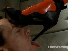 Lyla Storm humiliates her foot slave with her latex-covered toes in this very special shoot. She makes him clean her shoes with his tongue, lick her latex stockings, and then tramples him, makes him beg, crushes his cock and balls, makes him fuck her foot pussy like the pathetic animal that he is. She gives him masturbation instruction then denies his orgasm, instead cumming all over him, making him lick her squirt off her feet, then leaves him locked in his cell, with only her shoes to sniff, waiting for the next time she wants to play.video