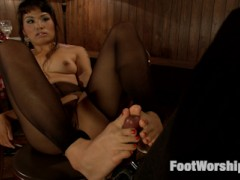 Milcah is dressed up in black silk stockings and waiting for her romantic date, but just thinking about rubbing her wiggling toes over his cock makes her wet. She rubs her pussy juice all over her pantyhose before ripping them open, dangling her stiletto pumps off her toes, spreading her toes in nylons, and then fisting herself to a toe-scrunching orgasm.  When her date arrives, she can't wait to use her toes to pull his cock out. She grips his cock between her curled toes and rubs, wiggles, and tickles him. He fucks her wet foot pussy until he cums all over her feet and she sucks her feet clean.video