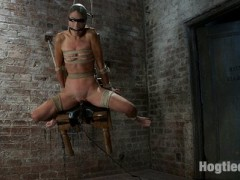 "Welcome Amber Rayne back to hogtied, it's been ages since this tight little body came by to get abused and used.  Lets not waste anytime.  Tiny Amber Rayne and her tiny little titties are in for a helpless ride on a vibrator.  Severely tied to the Hogtied chair, there is little Amber can do. She is allowed almost no movement, she has no hope of moving her clit off the vibrator. Needless to say, she is in serious trouble. Add the "" Mask of Insex"" and Amber is what we like to call ""fucked"".  No hope for escape, no hope for mercy, simply no hope.  The only thing this girl will know in the future is orgasms after orgasms after orgasms.  Each one growing in strength, each one punishing her body.  When the chair is lifted off the ground, the realization comes that she can never get free, the weight of her body presses on the vibrator and the orgasms come faster and harder now.  Unable to see, talk or move, the only thing Amber can do for us is drool and cum...video"