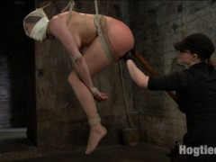 Welcome both Ashlynn and Odile to HogTied. Both bitches are up for a hard challenge today with uncomfortable rope bondage predicaments, pain, and VERY intense orgasm play. First up is Ashlynn Leigh. This hot 20 year old Texan gets turned out with rope bondage. We begin with her tied in a nice bent over straddle spread. Her cute bubbly personality quickly becomes turned on and fascinated by the bondage and the inescapable aspect of her tie. Her nice round ass is clearly on display for the taking. A nice cold anal hook is added, fingers in her tight young cunt, and a good flogging to redden that butt.Second, Ashlynn is bound in a standing worm tie predicament. Claire alternates tormenting her with the cane and the tazapper, making Ashlynn shock herself in the pussy! Our inexperienced starlet is pulled up even further to balance on her toes and then vibrated to orgasm. Her bondage is transitioned on the ground into a nice HogTie. Orgasm after orgasm is wrenched out of her pussy and ass and clit. Again and again the 20 year old can't stop from cumming.Finally, welcome red head Odile. Claire is not easy on this one. Odile starts in a modified steer tie on the floor. On her face is a ball gag, panty hose, her panties, and then its all taped on over the mouth, creating a breathing and sensory predicament. Claire torments Odile, playing with her like a piece of meat and then transitions Odile into a full suspension. Adding nipple clamps and a nice ass treatment, we want to see this bitch cum!video