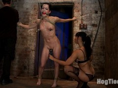 "Live Show Mondays brings you part 1 of 4 of the May live show that featured the incredible Elise Graves, sexy co-top Isis Love. Welcome Elise Graves to her first ever Live Hogtied show.  As in all of these types of shoots, all the bondage is done live on camera and most ties are explained as we do them, so you can learn and follow at home.As far as I know, Lew Rubens invented this brutal tie, and I have done it once before, however the other girl could only be ""up"" for a short time.  With Elise we knew we could get more ""hang"" time so here it is again.After we get Elise up and suffering we quickly mark and stripe her sexy body with the cane.  Each hit leaving a sexy red welt across her perfect skin.  Elise is one of the toughest bondage models on the planet right now and even she can't hang forever.  We bring in the vibrator just at the right time and Elsie is soon screaming out orgasm after orgasm.  Each one sapping her body of strength, each one making the bondage that much harder to endure, she can't stop the orgasms, her body betrays her and she just keeps cumming.  Only 15 minutes as past in this live show, 3 more positions to go and Elise is already spent...video"