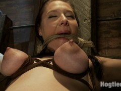 Dragged on set in a degrading way, she is dragged out & stripped. Maggie's natural tits are flogged, tied clamped & tormented over & over again.  Her plump ass is spanked, flogged & stuffed with dick as she struggles to cum.  Hung by her feet, Maggie is made to cum against her will.video