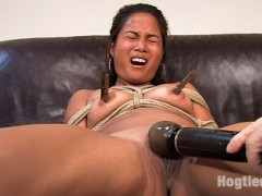Dahlia is a real amateur. She has never done any porn of any sort before & has never been tied either. She has a beautiful tight body and her orgasms get stronger & stronger. Watch as she joins us on the Couch for her audition to be a bondage model.video