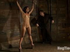 Live Show Mondays brings you part 1 of 4 of the June live show that featured the sexy Skin Diamond, sexy co-top Isis Love. Skin is bound, spread and pulled up to stand spread on two little blocks.  We abuse her hot sexy body with the cane and floggers.  Nipple suction cups are applied to make her big nipples even bigger! We add a crotch rope and pull her from her block, a full category 5 wrist suspension follows!  Skin is left to suffer, and she suffers so beautifully.  This is the first part of the live show and Skin is already tired from the brutal bondage, but this was just the warm up...video