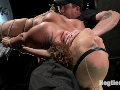 Daddy's girl, Roxanne Rae is back and this time she wants the full treatment. She shows up begging me to push her further than she's ever been pushed. She wants to suffer, she wants the pain, she wants be destroyed. She is bound to a column with her hands above her head, then one leg is taken away which exposes her dripping wet pussy. There is no remorse when it comes to the punishment and I make sure this little slut gets what she asked for.Roxanne finds herself in a brutal inverted suspension with her legs held open by a predicament tie that inflicts pain when she tries to close her legs. She is subjected to severe punishment form flogging, caning, and a nasty dragon tail. She is taken to a place that she fears most. Take away her vision and she looses her shit, and she is now totally mind fucked.i wanted to finish the day with a bang, so Roxanne is bound to a spool that stretches her back to it's breaking point. The abuse continues until we see her start to break. Instead of stopping, I change gears and make her cum so hard that her pussy betrays her mind and she becomes overwhelmed with brutal ecstasy.video