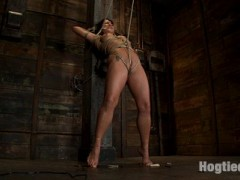 Mahina Zaltana is back. This smooth skinned, tan Hawaiian is beautifully erotic and sensual, a former collegian athlete, with a love for tight bondage and discipline.Bound to and against a beam, Mahina is brought to her very tippy toes with a brutal crotch rope.  As her calves muscles begin to weaken, the crotch rope digs deeper and deeper into her shaved wet pussy.  However that is not all Mahina has to worry about.  Add in breast and nipple torture as clothes pins are applied to her helpless body and brutally flogged off.The crotch rope is pulled ever tighter and Mahina's suffering is great.  However we are not totally cruel and wanting.  We make Mahina cum and cum hard.  There is nothing she can do to stop it. Her body betrays her as she cums like a common street whore, not like the proud collegian athlete who walked into our studio.video
