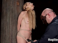 The Sarge manhandles petite blonde Emma Haize. Emma Loves being handled and used by big burly guys, and Sarge gives it to her just the way she wants it. Rolled in and objectified on a farm cart, arms stretched tight overhead, ass spanked red, plenty of orgasms and tight crotch ropes.video