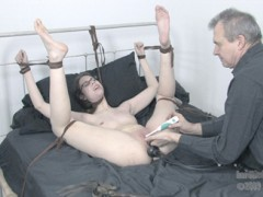 Slave Kristine True Submission kristine is a true bondage slut and a rare find. Even before her work has begun, she is already asking for PD to have his way with her. Once PD has her tied, kristine is begging for a chance to suck his cock. she learns quickly that PD demands the best. It takes this bitch a minute to get it right, but once she gets going she earns the privilege of getting her cunt fucked. she is such a bondage slut that her orgasm starts as soon as PD begins to choke her. Since choking gets her pussy flowing, PD ties bends kristine over the bed and ties her neck to the headboard. her cunt is his for the taking this way, and he makes sure she knows it when he savagely pounds it from behind. she cums even harder this time, from both the vibrator on her clit and the cane strokes on her ass. the final position has kristine bound with her legs in the air so both of her holes are fully exposed. her ass hole is empty to start, but PD corrects that with an inflatable cock that fills her up nicely. her pussy is where the real torment happens, though. At first it is just more vibrations and she moans like a slut. The intense finger fucking has her grunting in ecstasy/agony , but the flogger just makes her scream out loud. PD milks the orgasms out of her until she is completely exhausted. Later on she is still shackled to the bed, still being used to satisfy PDs horny whims.video