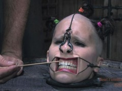 Marina Shaved and Humiliated Marina is the bitch in the barrel. It leaves her head open for any kind of torment. PD gets creative and makes a gag fit for the circus. In a feat only fit for Real Time Bondage PD threads a line through her nose, into her sinuses and eventually out of her mouth. They take her new silence as consent for any idea they have until her holes are filled, her body debased and her wishes fulfilled.video