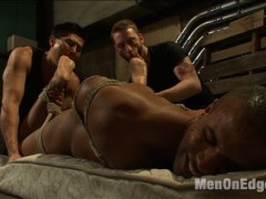 Two pervs have just caught a new stud and brought him to the alleyway for some fun.  But their fun comes to a screeching halt when they're discovered by Officer Robert Axel.  The muscled officer goes to make his arrest, but before he knows it Sebastian attacks him from behind and chokes him out.  When Robert comes to, he finds himself bound to the wall and blindfolded by the two perverts.  They tear away his clothes and get his cock rock hard.  Robert struggles against the rope on his skin as he's continuously brought to the brink of orgasm.  After having both holes filled with dildos, Robert is made to cum all over himself.  But he's not finished, after being made to eat his own cum Robert endures post-orgasmic torment before screaming for mercy as they tickle the hell out of him.video