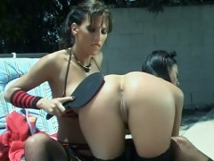 Lezley Zen and Alaura Eden engage in a shameless outdoor lezdom in this scene. Lezley Zen becomes the fierce mistress and gives her slave a taste of her corporal punishment. She grabs her paddle and strikes her ass and doesn't stop even if she cries in pain.video