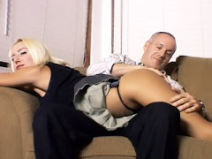 Naughty girl Paige gets together with her sugar daddy and gets nasty by going for a session of intense spanking. She bares her perky ass and lies across her daddy's lap. He starts off by caressing her sexy butt and later slaps her ass to his heart's delight.video
