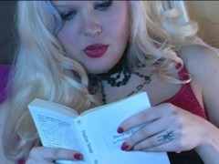 Goddess Starla reads a book while enjoying her slave worshipping her feet while she reads and masturbatesvideo