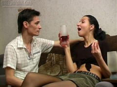 Nik is horny and he's making sure that Candy drinks lots of wine so he can fuck her. He knows that once she gets loaded he'll be able to bone her amateur pussy. She's wearing sexy stockings and his first move is to rub his hands up and down them, feeling the soft material and arousing him. At first she's not quite in the mood for sex but after a few more drinks she's happy to kiss him and suck on his hard cock. The beautiful young amateur gives great head and her pussy is licked thoroughly before Nik slips his cock inside and they have drunk sexvideo