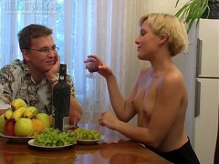 Irina and Boris are sharing drinks and conversation at the dining room table and he's secretly hoping to get her drunk enough to fuck. After a few drinks she's eating a banana out of his hands so it might not take as long as he thought. A few more glasses of wine go down and she takes off her top and flashes her tits at Boris and the camera. What he's really looking for is a blowjob and after a few more drinks he stands up, undoes his pants and pulls out his pud. Just like she did with the banana she takes it in her mouth and sucks. There's no biting this time, just pure pleasure. Boris then fucks her pussy all over the house and in several positionsvideo