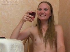 Galina is a pretty young girl and she's about to get loaded and do something naughty for our pleasure. She's drinking wine and when it starts to take effect she starts takking her clothes off like any good slut would. She has a tight teen body that includes little tits and the most amazing shaved pussy you'll ever see. It looks positively delicious and if you were there I'm sure she'd love for you to drop between her legs and lick her snatch. As it is you get to ogle it as long as you'd like while she continues to drinkvideo