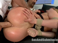 When James finds out from his step dad that his soon to be wife is a whore, all hell breaks loose.  Denice K gets put in bondage and must endure humiliating rough sex and double penetration by her future husband and his step dad!video
