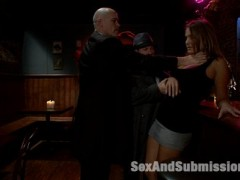 The Debt Collectors return to collect back payment at a local bar.  The owner is nowhere to be found, but his innocent daughter works there and is faced with a tough decision.  Watch them burn the place down or give up the goods?  Fortunately for her, she can handle the boys and get something out of it for herself.  Two mobsters on one busty barmaid, lot's of punishment, bondage, anal and double penetration!  A SexandSubmission.com exclusive!video