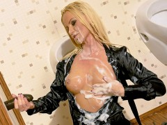 This Hungarian babe is a newcomer to Tainster, first appearing at a recent DSO party and now back for some wet and messy fantasy cum action!! This blonde MILF is a total slut, and she's not afraid to show it as she finds herself a black cock sticking out of a gloryhole and waists no time getting down to business!video